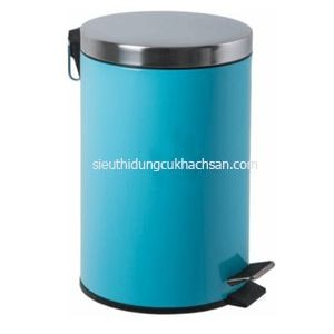 thùng rác inox chân đạp màu xanh dương TP692118-min