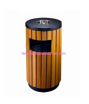 Thùng rác bằng gỗ ngoài trời TP692151