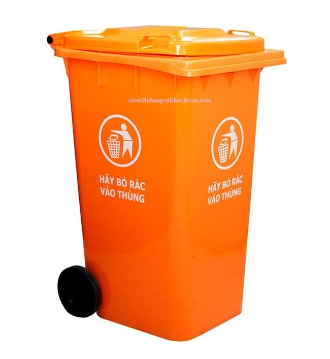 Thùng rác công nghiệp 240L màu cam