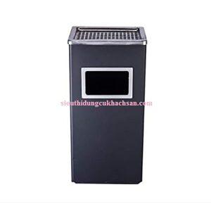 Thùng rác gạt tàn chữ nhật màu đen STHM079