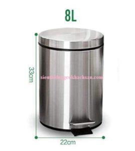 Kích thước thùng rác inox đạp chân 8L