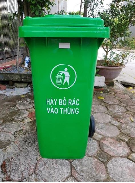 Thùng rác công cộng 100 lít màu xanh