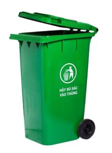 Thùng rác công nghiệp 240L màu xanh