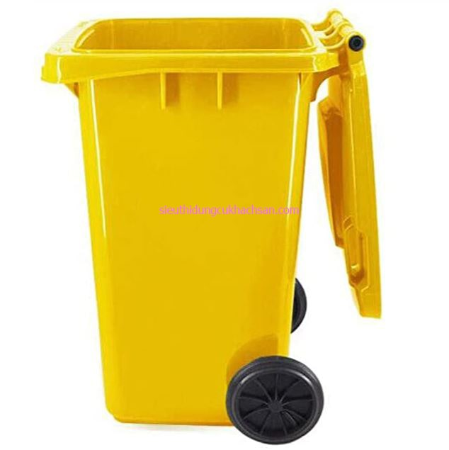 Thùng rác công nghiệp 100l màu vàng