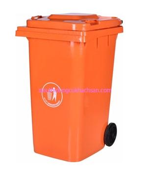 Thùng rác nhựa công nghiệp màu cam 100l