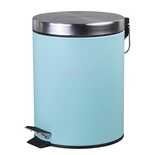 Thùng rác inox chân đạp màu xanh