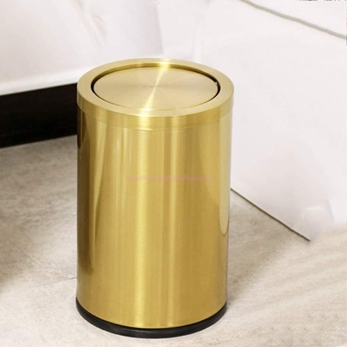 Thùng rác inox nắp lật màu vàng