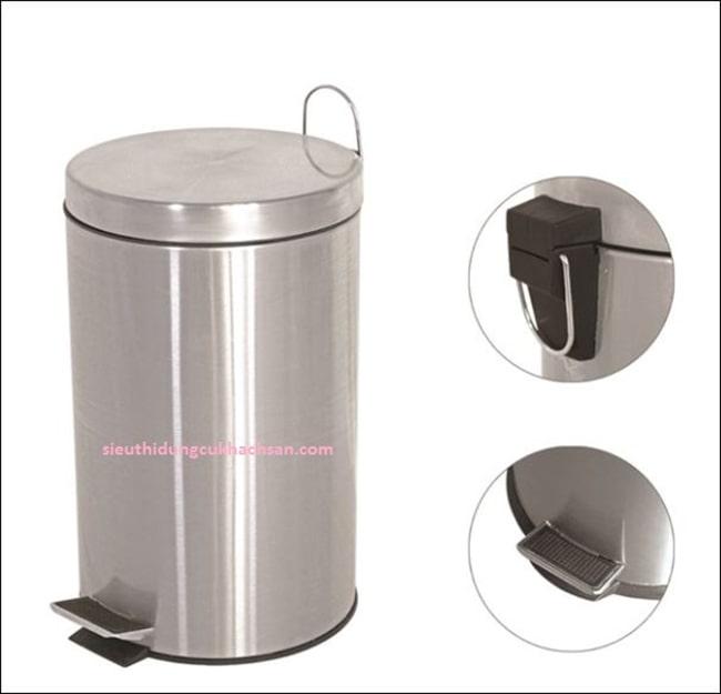 Các bộ phận thùng rác inox đạp chân 8 lít
