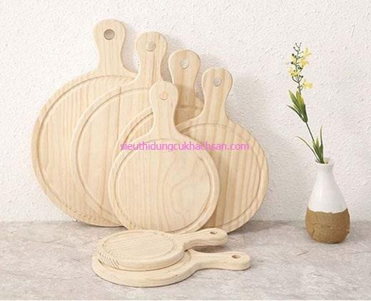 Khay gỗ hình tròn có tay cầm
