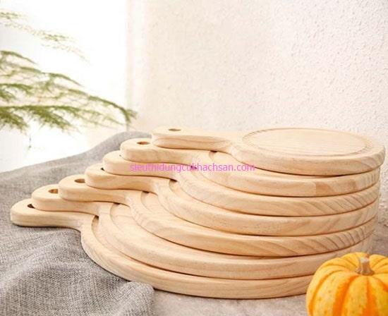 Khay gỗ tròn có tay cầm