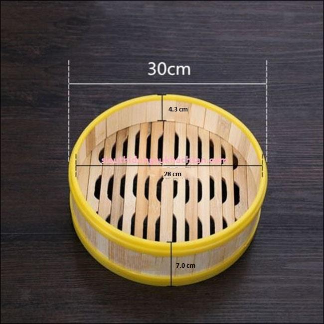 Kích thước lồng hấp bánh bao bằng tre viền nhựa
