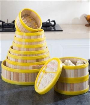 Xửng hấp dimsum bằng tre 15cm - Dụng cụ bếp nhà hàng Tín Phát