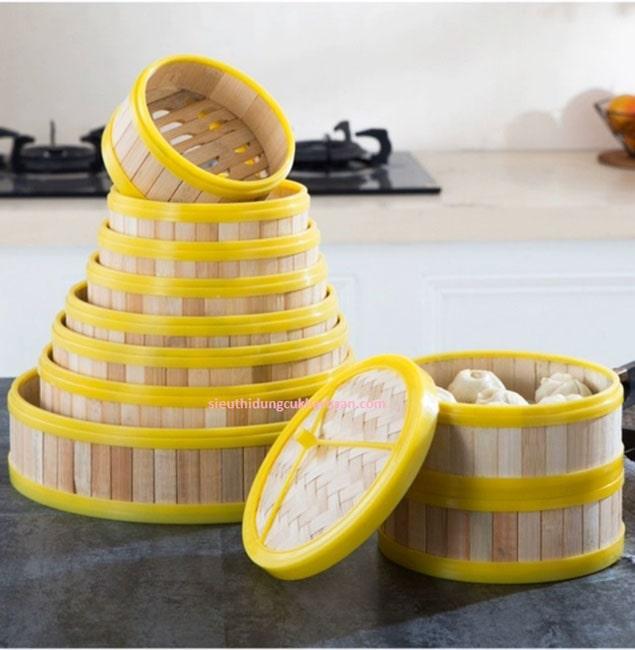 Xửng hấp bánh bao bằng tre viền nhựa