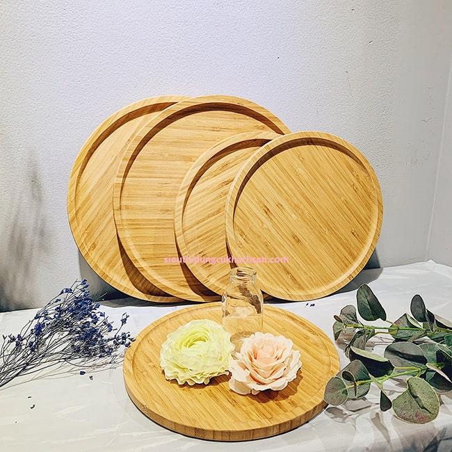 Khay gỗ trang trí món ăn hình tròn