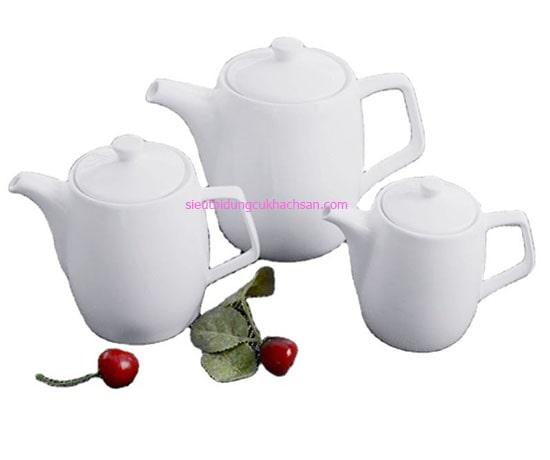 Bộ bình trà sứ trắng Minh Long
