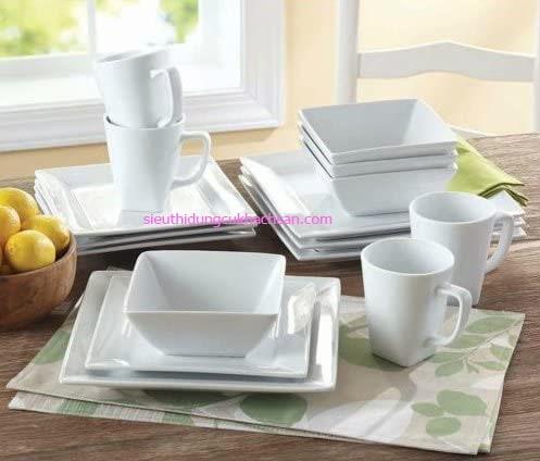 Dĩa sứ trắng hình vuông Minh Long